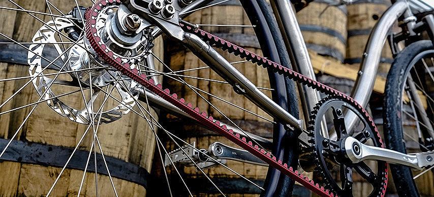 Gates red carbondrive belt on a bike