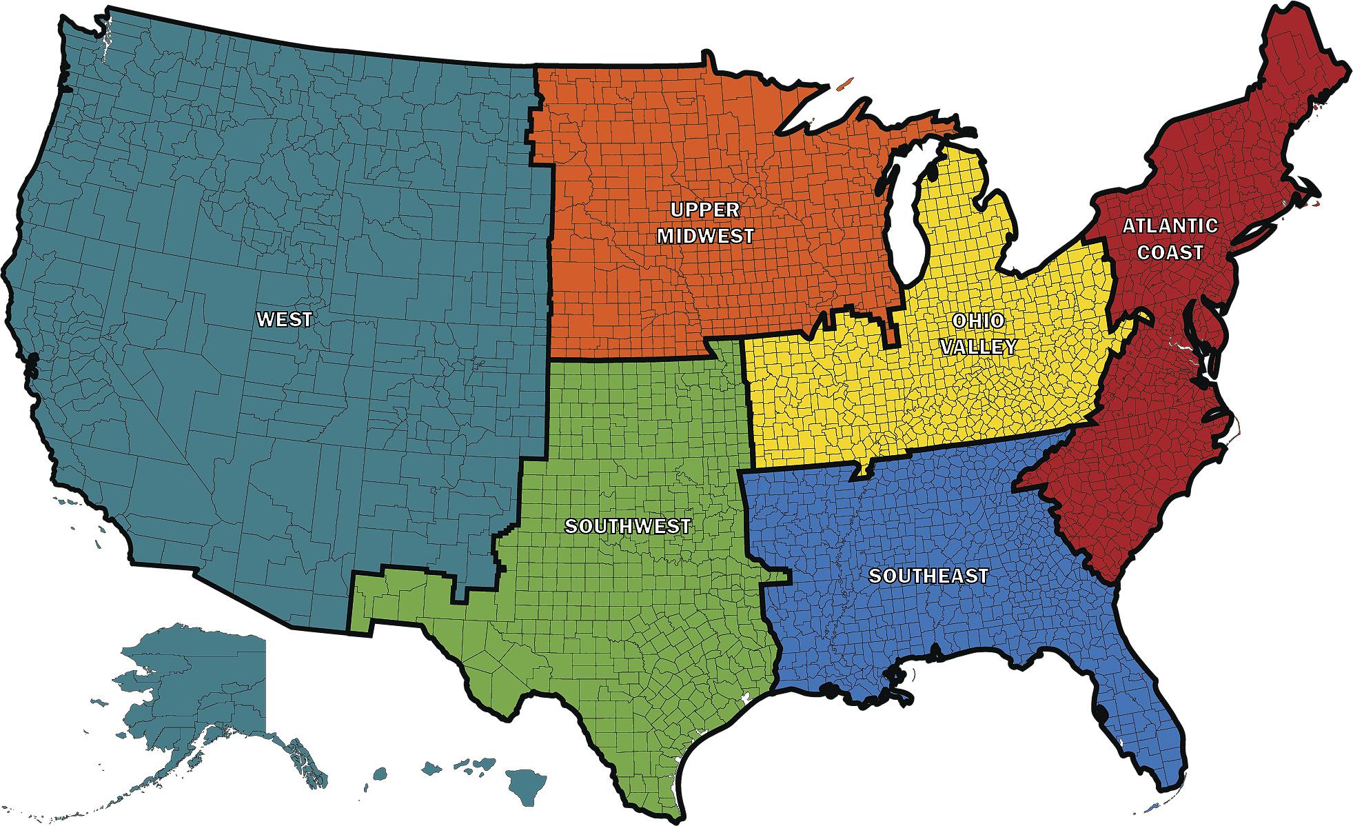 Industrial FP Sales Regions Map