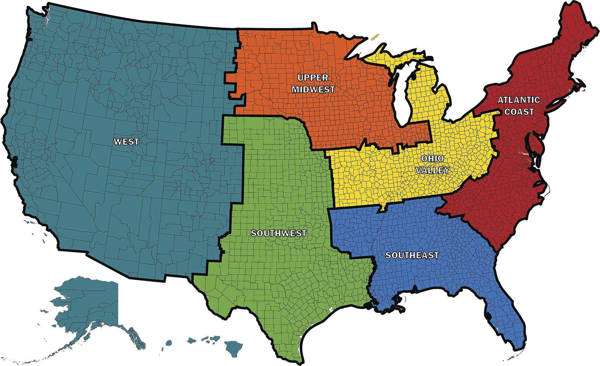 Industrial PT Sales Regions Map